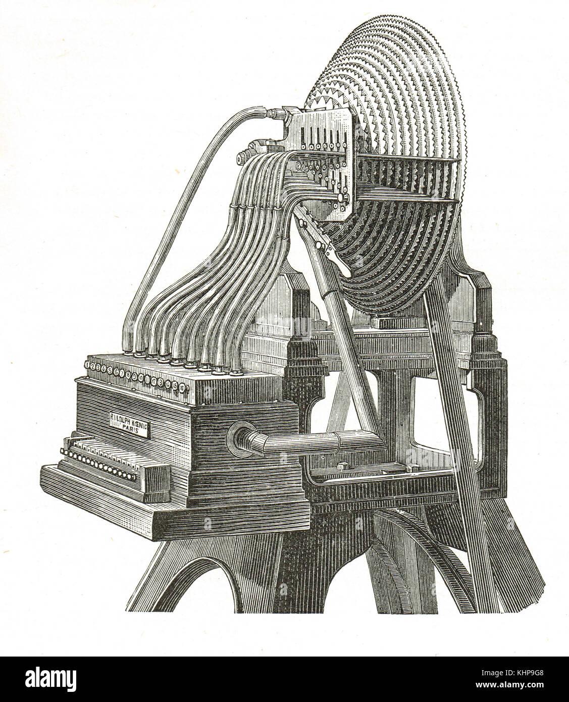 Wave-siren by Rudolph Koenig (1832–1901) - Stock Image