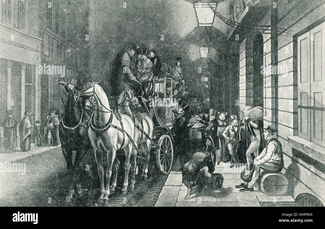 Mail coach leaving the General Post Office, Lombard Street, London, England in olden times - Stock Image