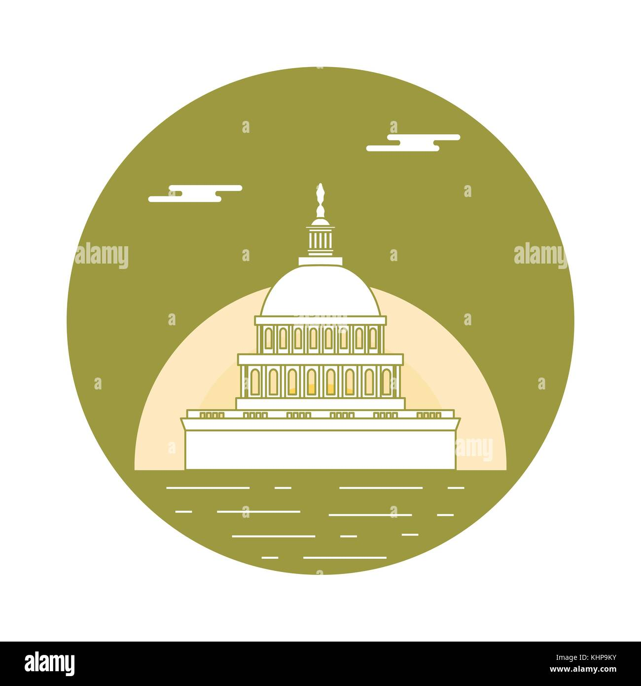 Silhouette of famous building in the USA. The Capitol building of the U.S. Congress. American symbols. - Stock Vector