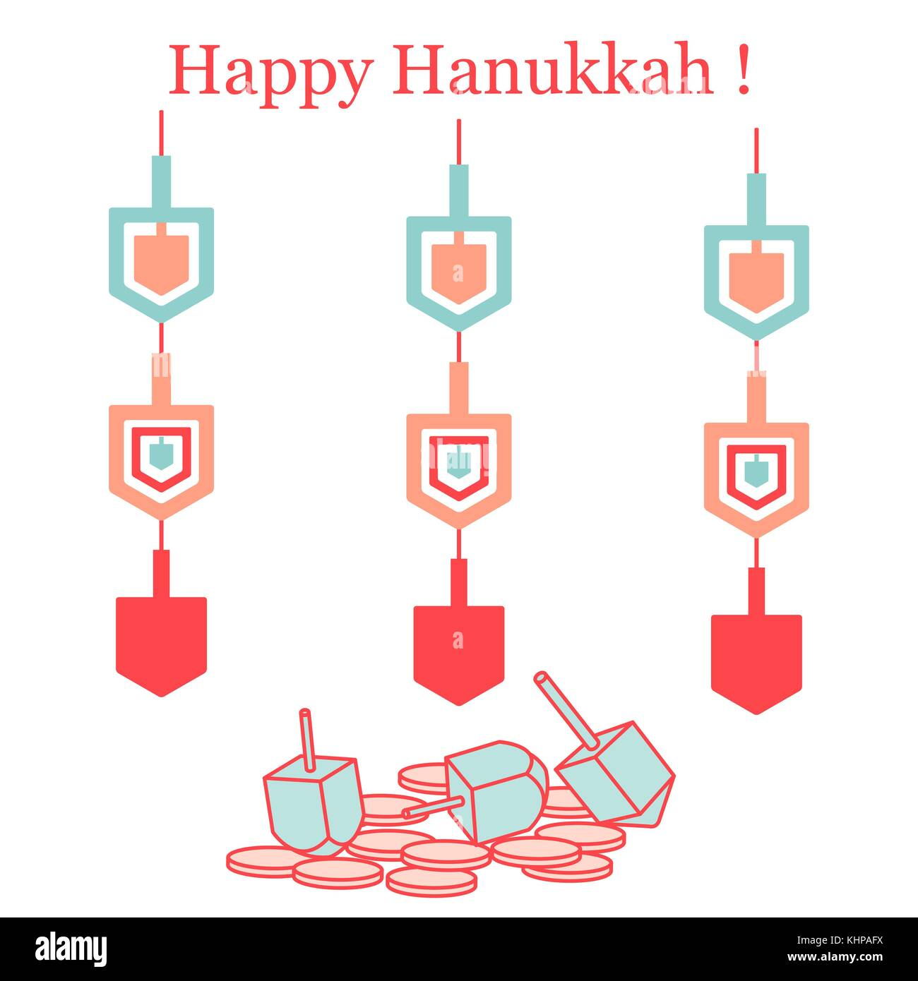 Jewish holiday Hanukkah: dreidel, sivivon, coins and paper garland. Design for postcard, banner, poster or print. - Stock Vector