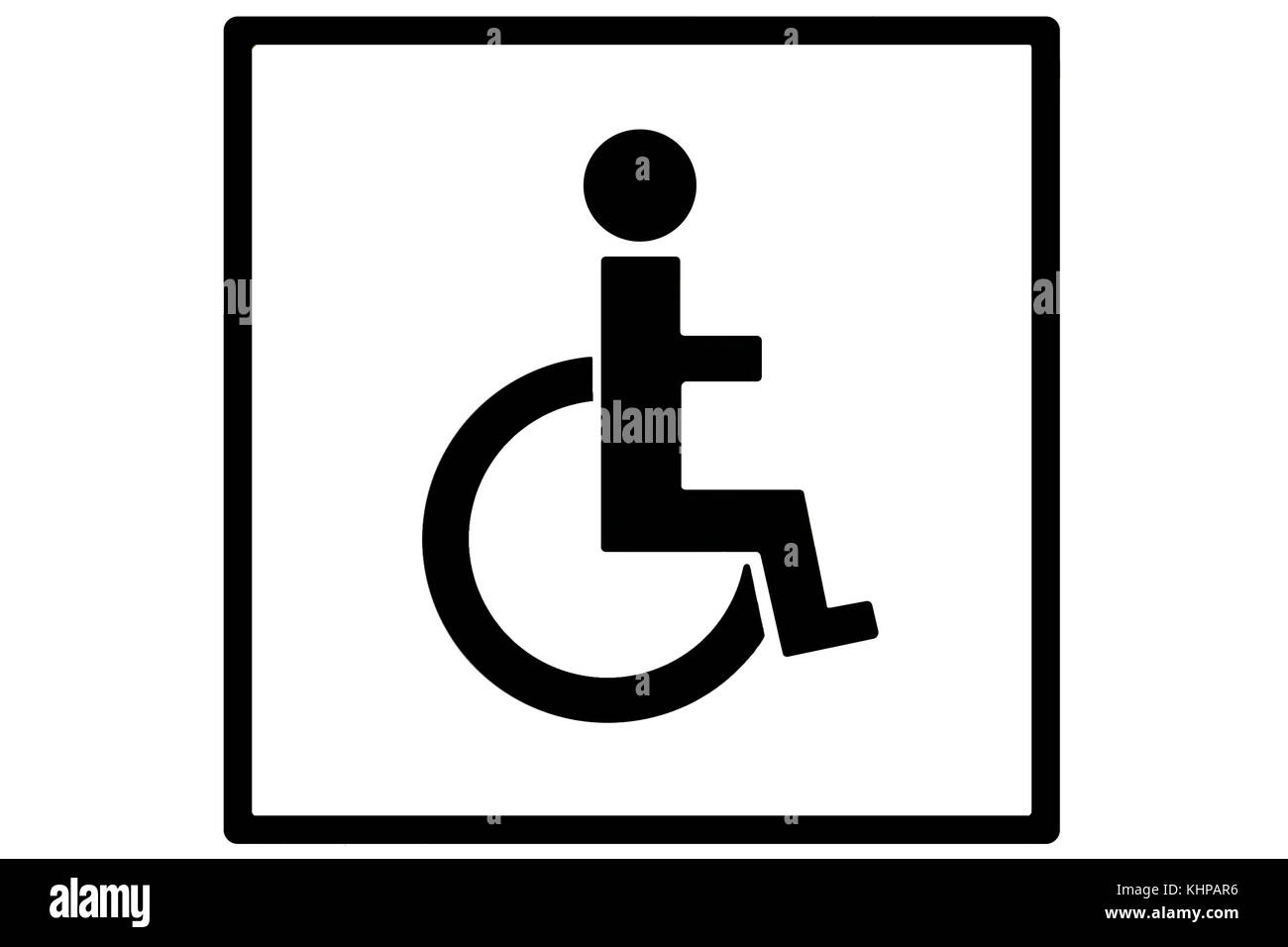A sign or signage depicting a person in a wheelchair in black silhouetted on white within a square black box, as - Stock Image