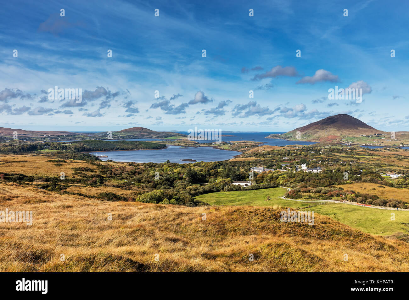 Beautiful view from the Lower Diamond Hill Walk in Connemara National Park, Letterfrack, Co. Galway, Ireland - Stock Image