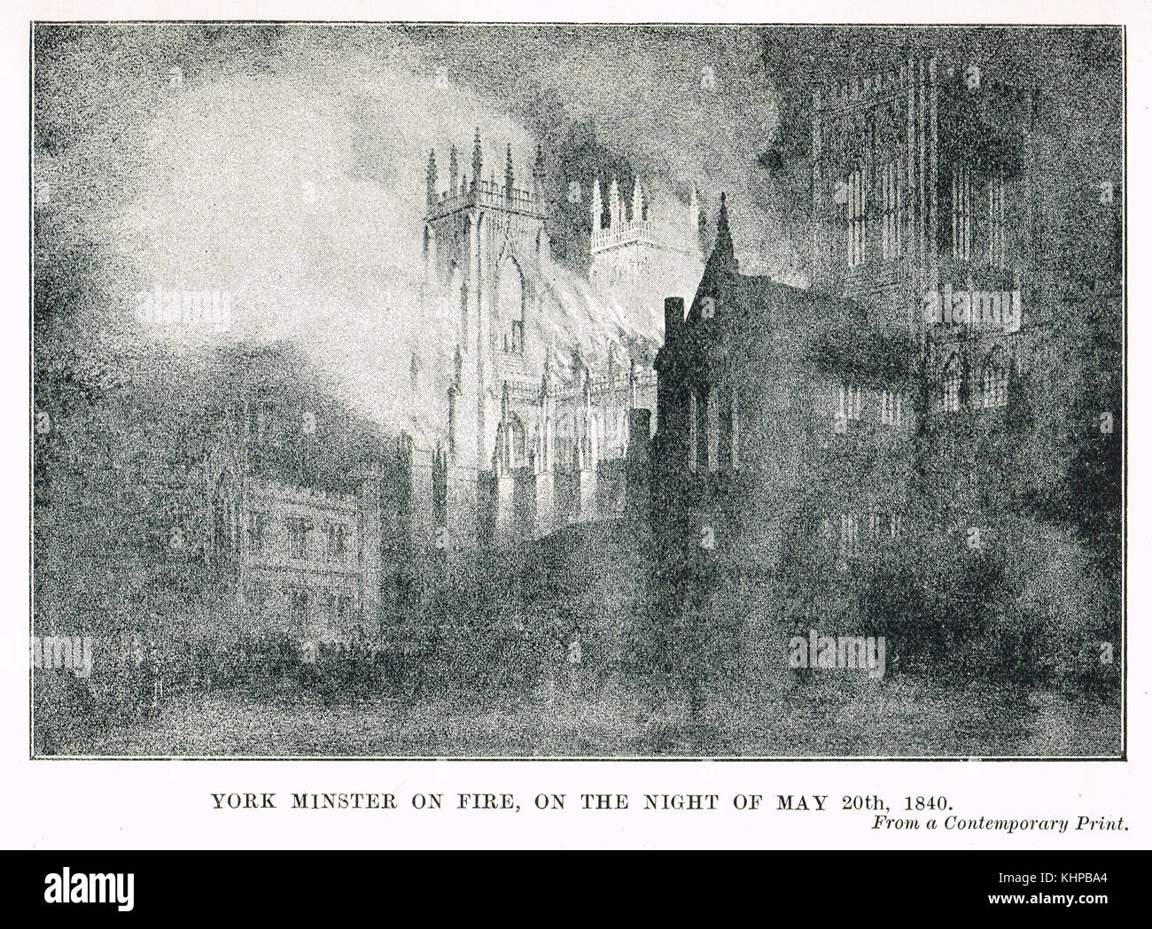 York Minster on fire, Night of 20 May 1840 - Stock Image