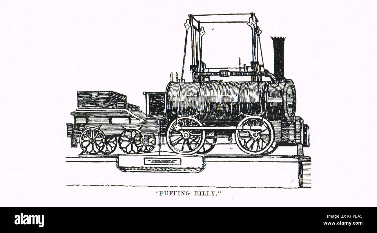 Puffing Billy, world's oldest surviving steam locomotive, constructed 1813 - Stock Image