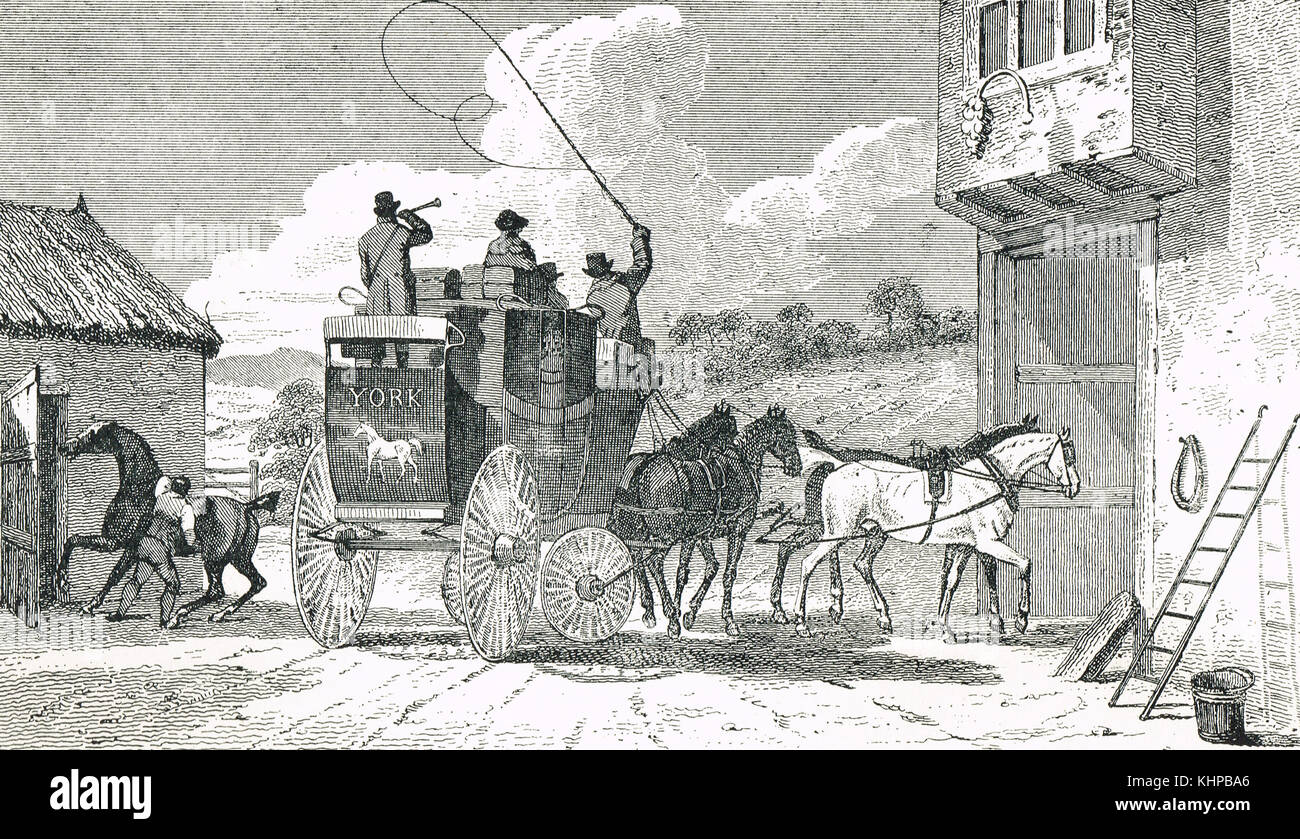 The York High Flyer Coach, 1812 - Stock Image