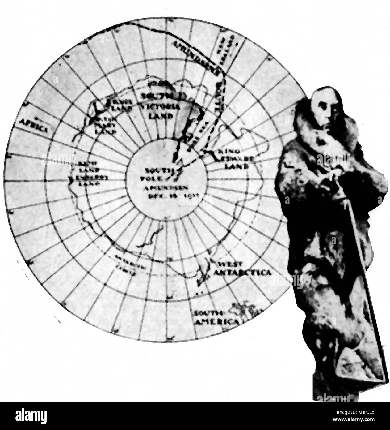 Roald Engelbregt Gravning Amundsen the Norwegian Antarctic explorer with a map of his journey of discovery to the South Pole - From a small 1935 magazine illustration Stock Photo