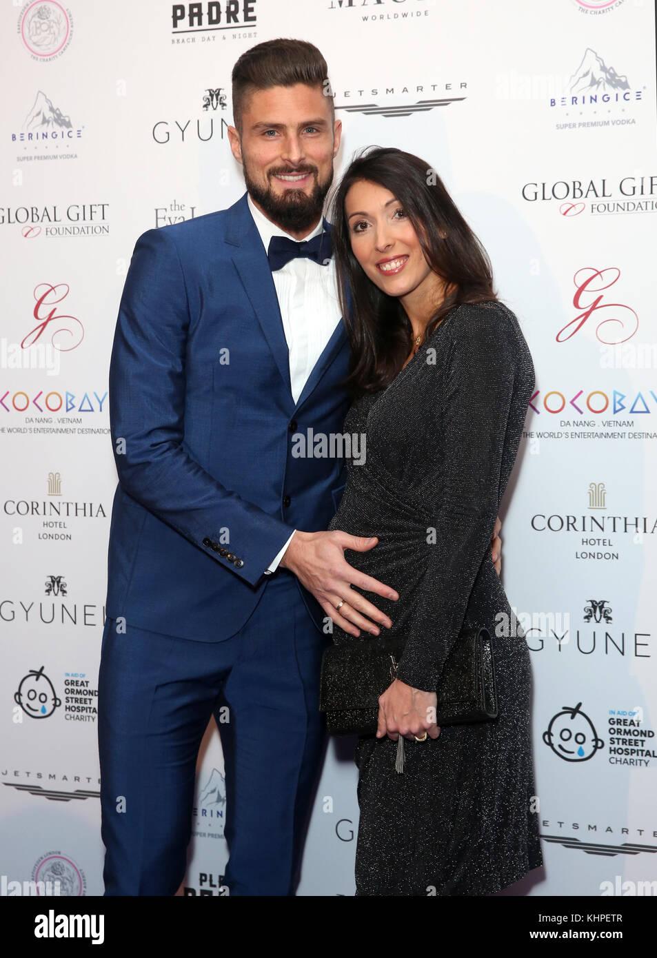 Olivier Giroud And Jennifer Giroud Attending The Global Gift Gala Stock Photo Alamy