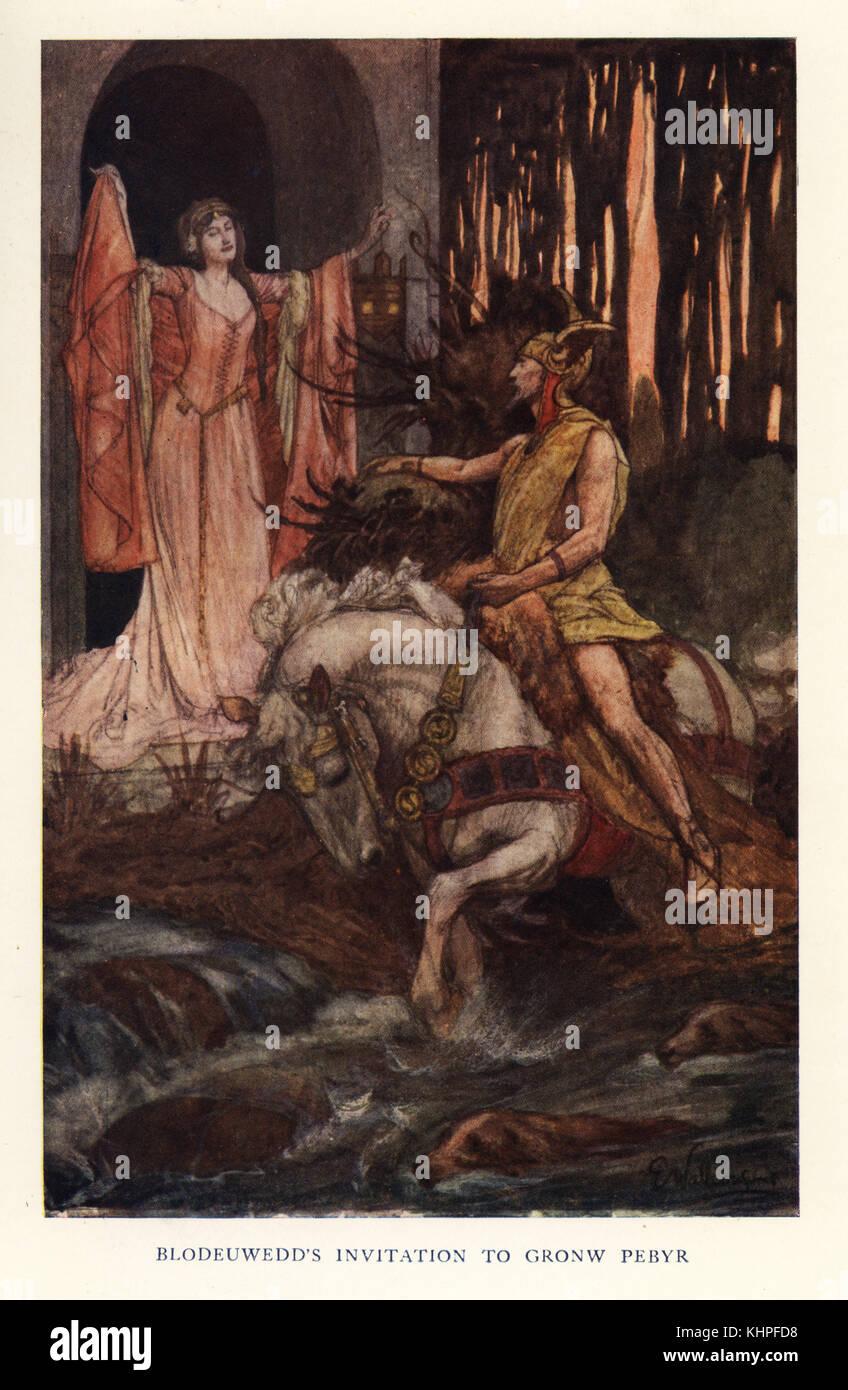 Blodeuwedd, wife of Lleu Llaw Gyffes the British sun god, beckons to Gronw Pebyr, a Gaelic god of darkness. Chromolithograph - Stock Image