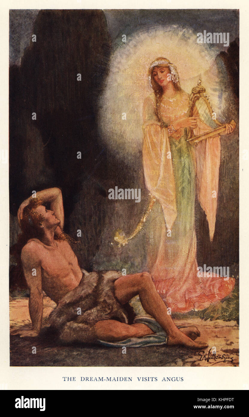 The dream maiden visits Angus, Gaelic god of love and beauty. Chromolithograph after a painting by E. Wallcousins - Stock Image