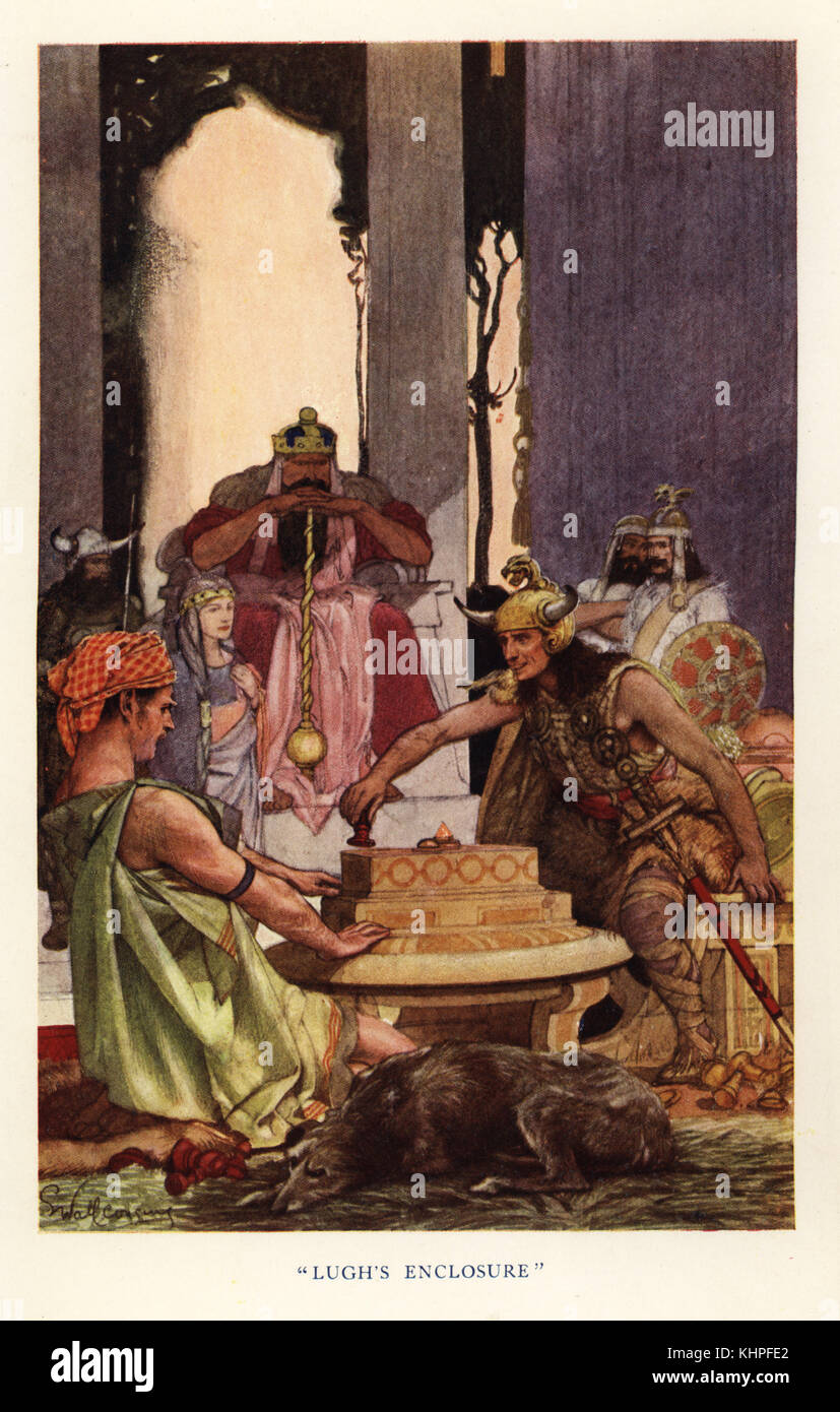 Lugh Lamhfada, the Gaelic sun god, beating the king's best chess player with Lugh's enclosure. Chromolithograph - Stock Image