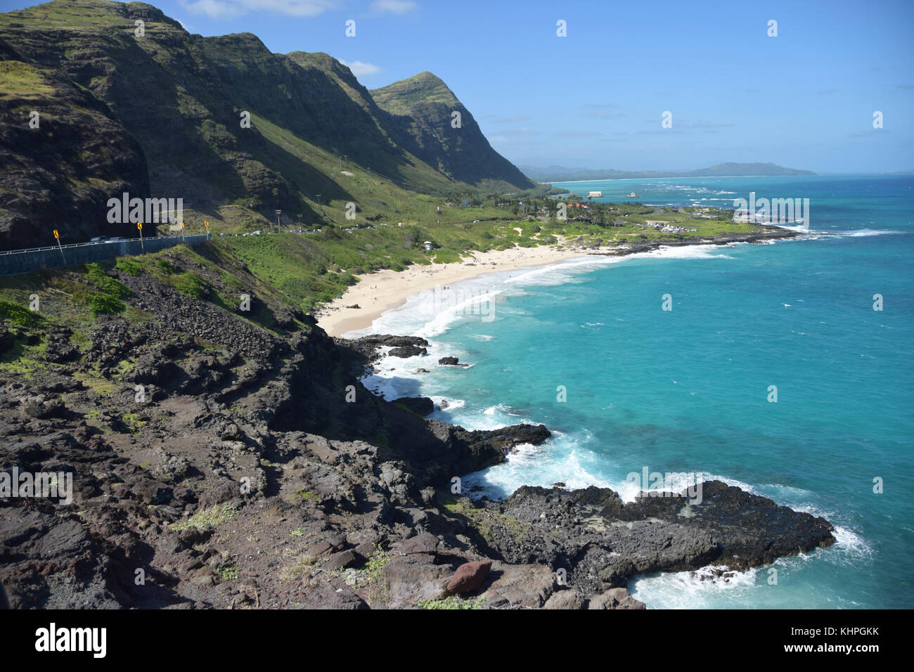 View of Sandy Beach from Halona Blowhole - Oahu, Hawaii - Stock Image