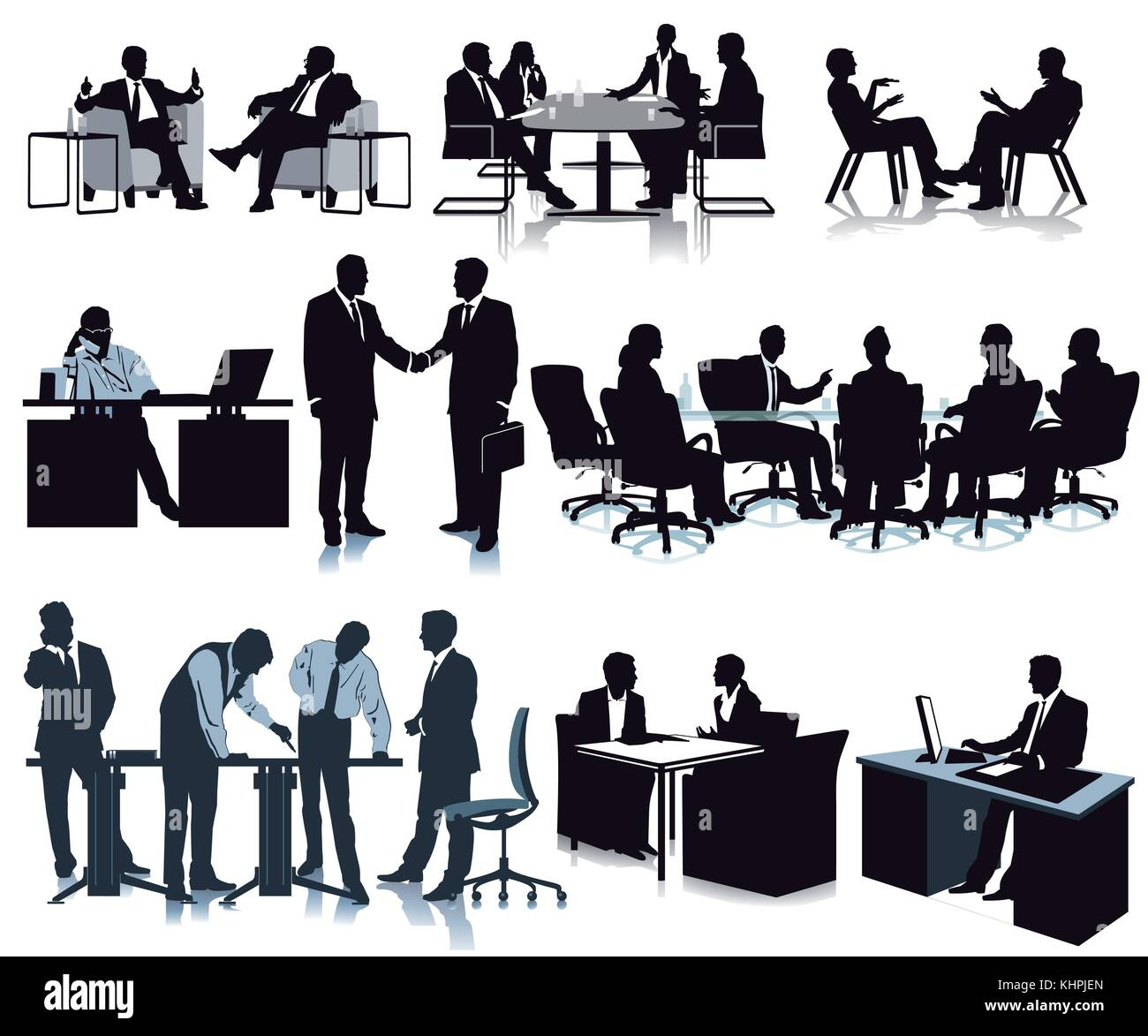 Meeting in the office, conference, discussion, illustration - Stock Vector