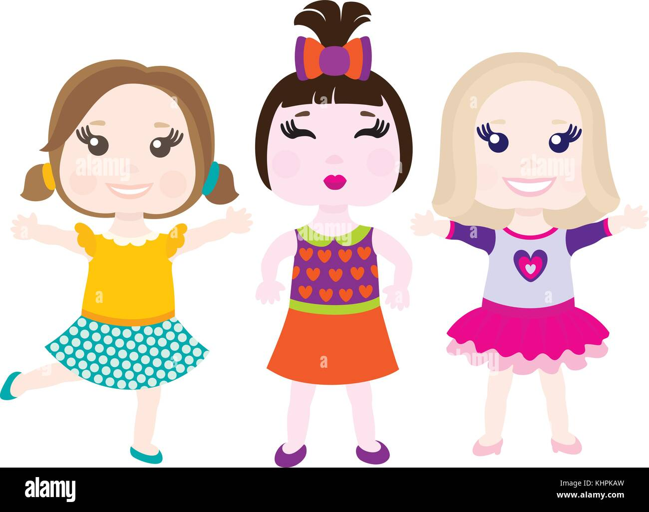 Vector illustration of three little smiling girls - Stock Image