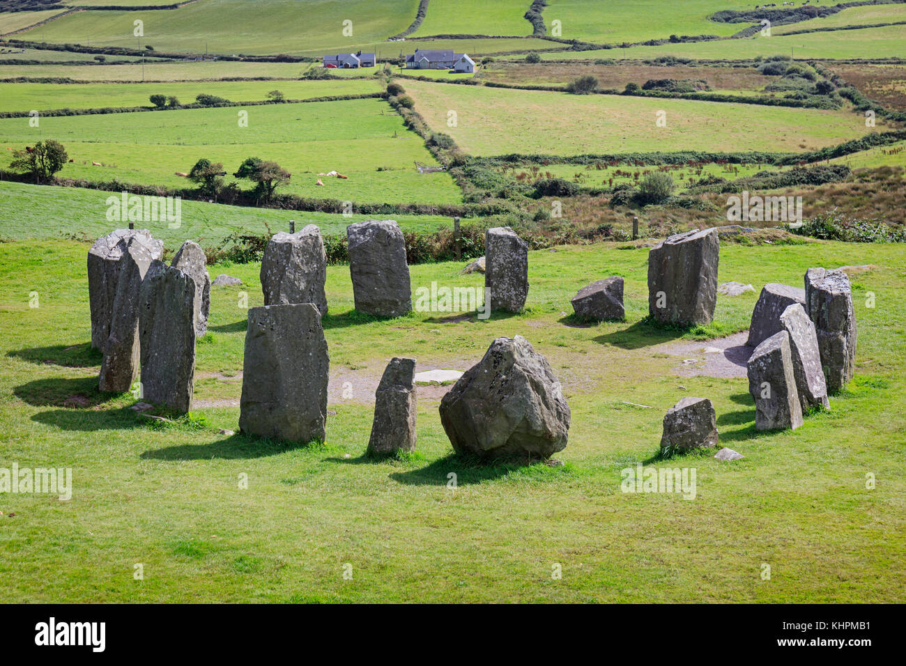 near Glandore, County Cork, Republic of Ireland.  Drombeg recumbent stone circle.  It is also known locally as The - Stock Image
