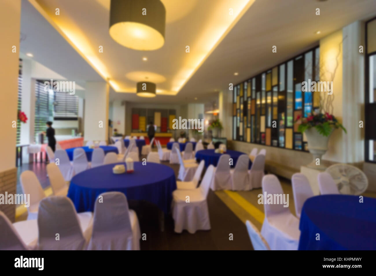 Dining room in the hotel blur,Dining table in the building,Dinner room - Stock Image