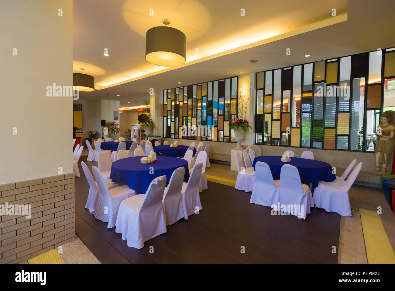 Dining room in the restaurant blurred or out of focus,Dining table in the building,Dinner room - Stock Image