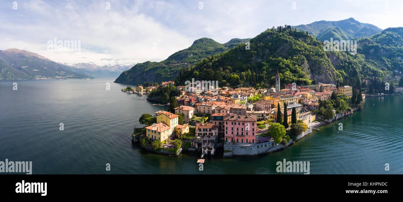 Como Lake - Village of Varenna - Aerial view - Stock Image