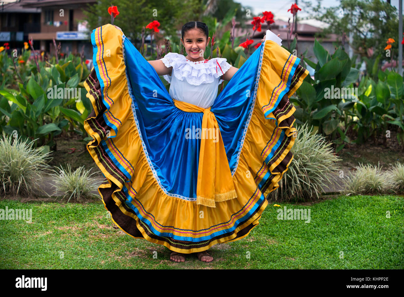 Local dances in La Fortuna village, Alajuela province, Costa Rica, Central America - Stock Image