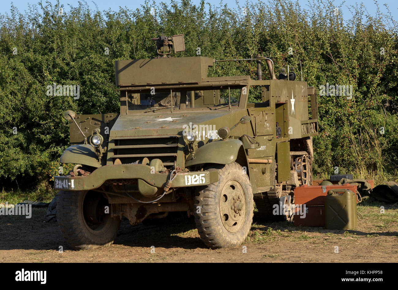 M3 Half-Track, US Army WW2 markings, Cosby Victory Show, UK. - Stock Image
