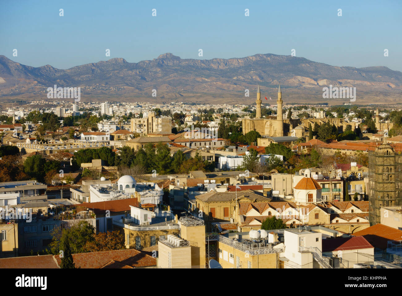View over the Turkish North Nicosia, Lefkosia, Cyprus from the Shacolas building in the south. - Stock Image
