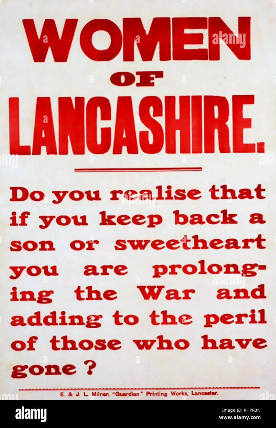 WOMAN OF LANCASHIRE  British First World War recruiting poster about 1915 - Stock Image