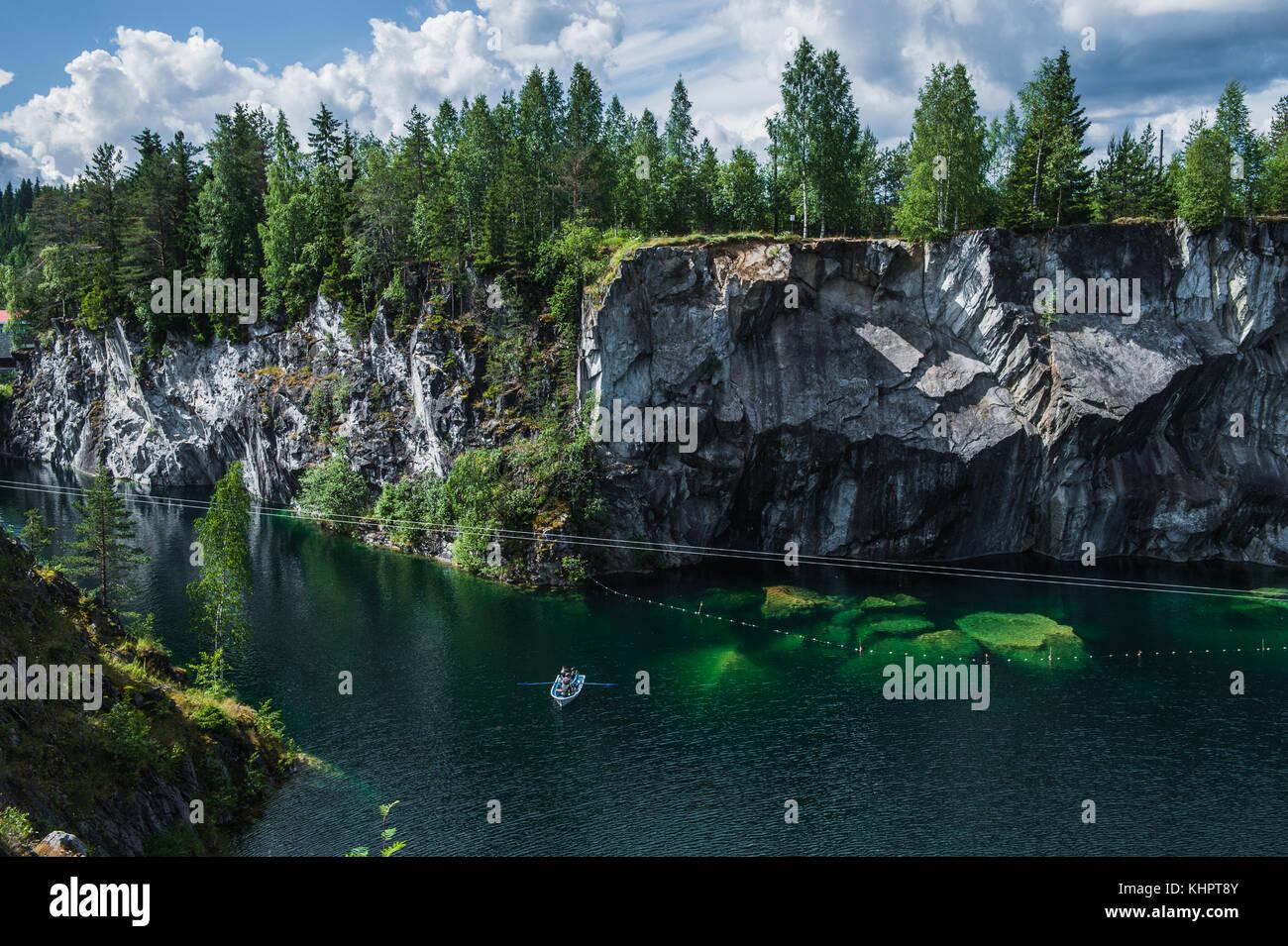 Famous beautiful marble quarry Ruskeala, Karelia, Russia Stock Photo