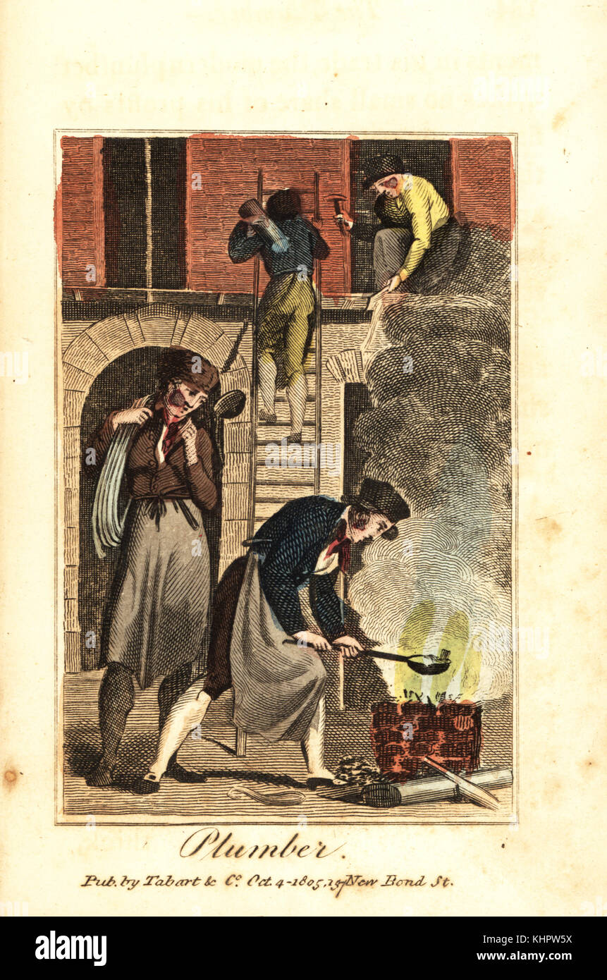 Plumber heating lead in a fire to fix lead pipes on a building site. Handcoloured woodcut engraving from The Book - Stock Image