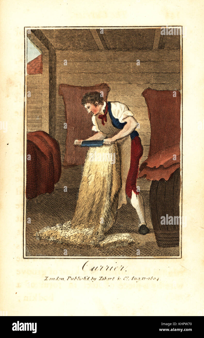 Currier shaving animal hides with a knife to make leather for shoes, boots, saddles, bookbindings, etc. Handcoloured - Stock Image