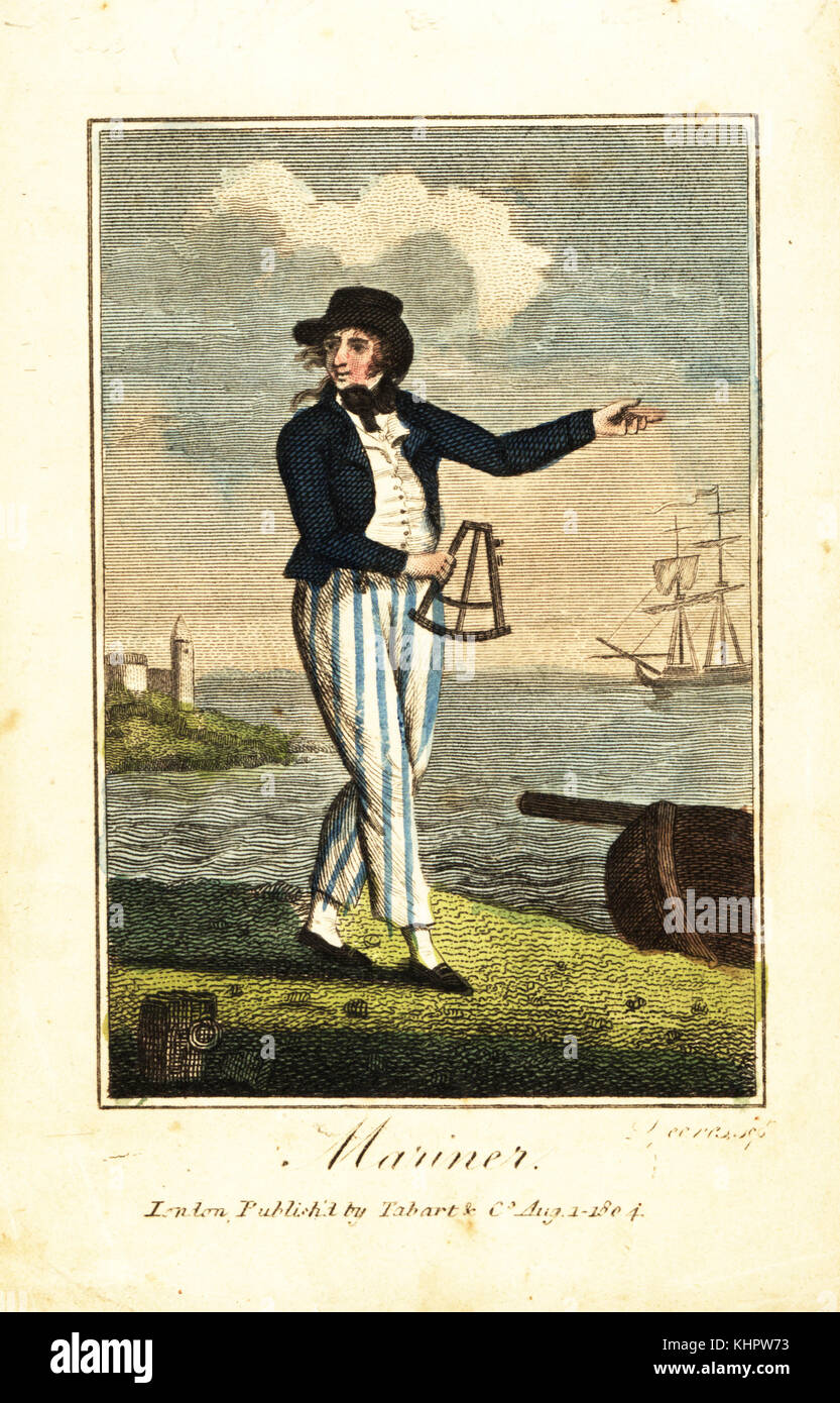 English mariner with sextant on a beach in front of a lighthouse and tall ship. Handcoloured woodcut engraving from - Stock Image
