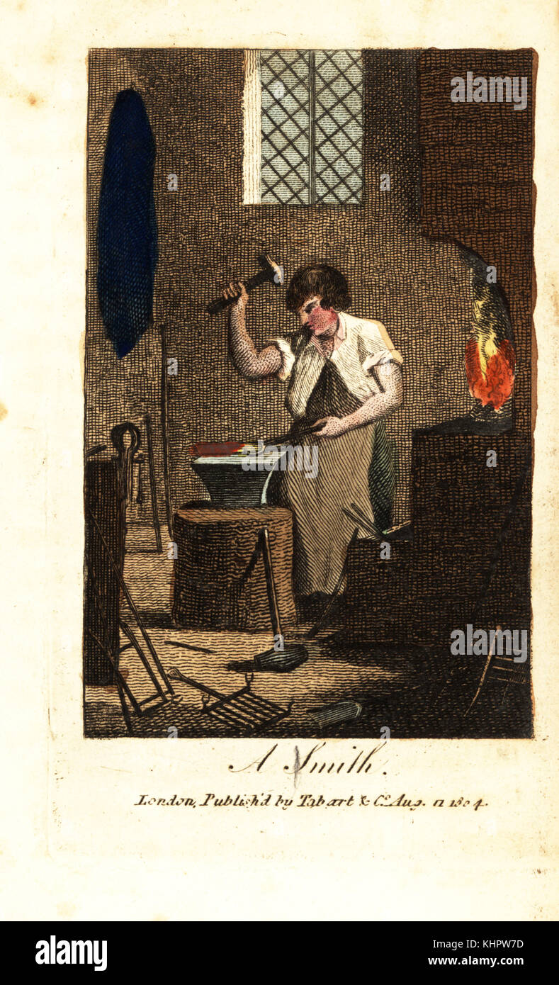 Blacksmith using hammer and tongs to beat a piece of red-hot iron heated in a forge. Handcoloured woodcut engraving - Stock Image