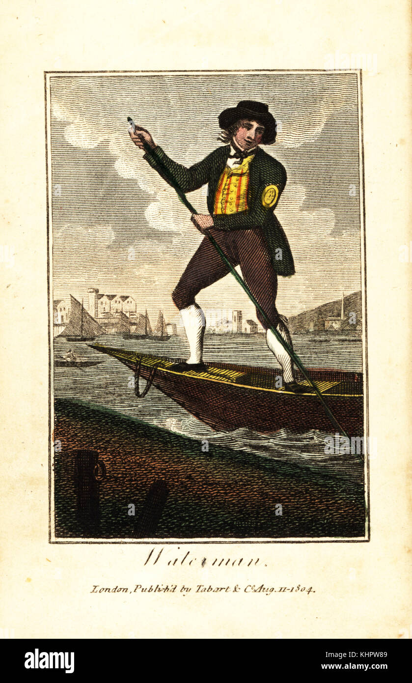 Waterman on his rowboat ferry on the River Thames, London. His coat and silver badge identify him as a skilled rower - Stock Image