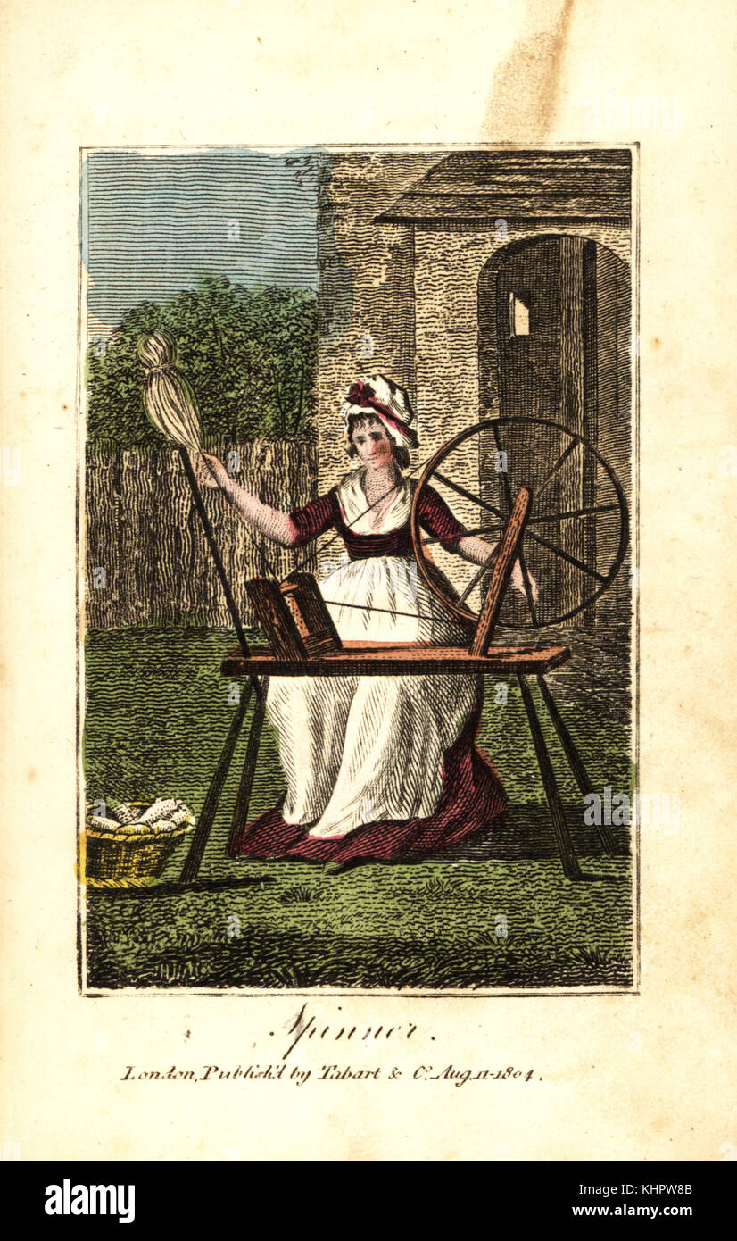Woman spinner in bonnet and apron spinning wool yarn on a spinning machine. Handcoloured woodcut engraving from - Stock Image