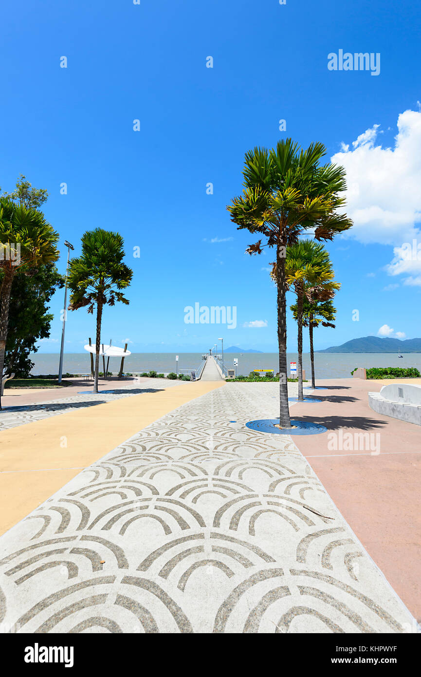 Decorated Pavement on Cardwell waterfront near the jetty, Far North Queensland, FNQ, Australia - Stock Image