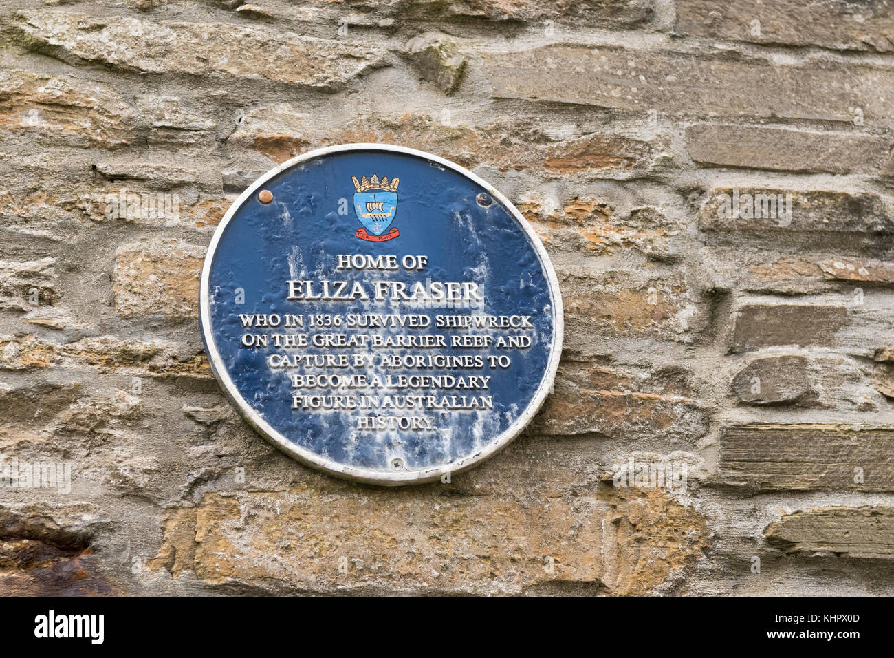 Commemorative plaque on what is believed to have been the home of Eliza Fraser, Stromness, Orkney, Scotland, UK - Stock Image