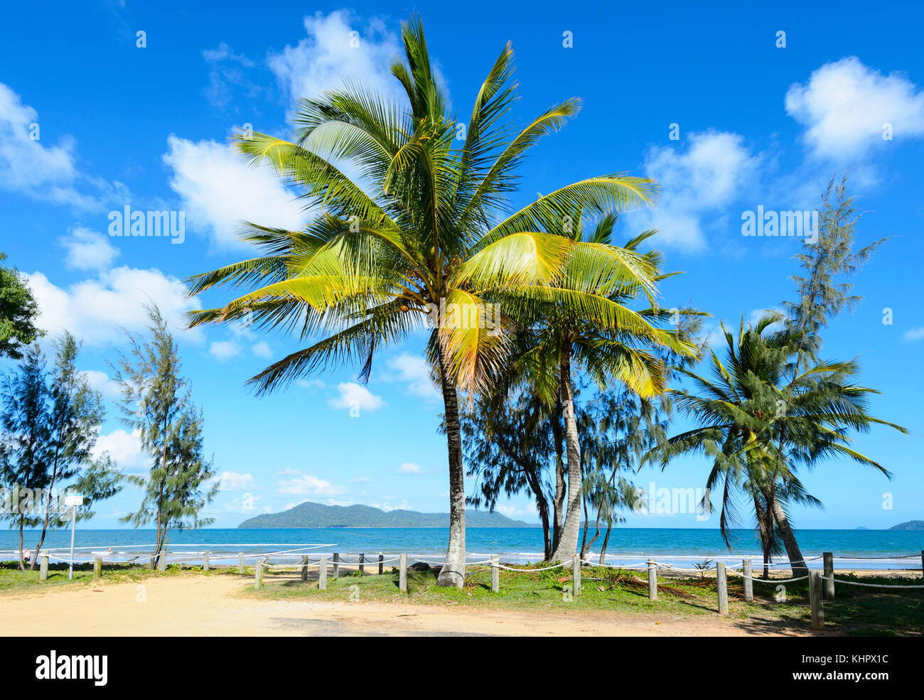 View of exotic palm-fringed South Mission Beach on the Coral Sea, Far North Queensland, FNQ, Australia - Stock Image