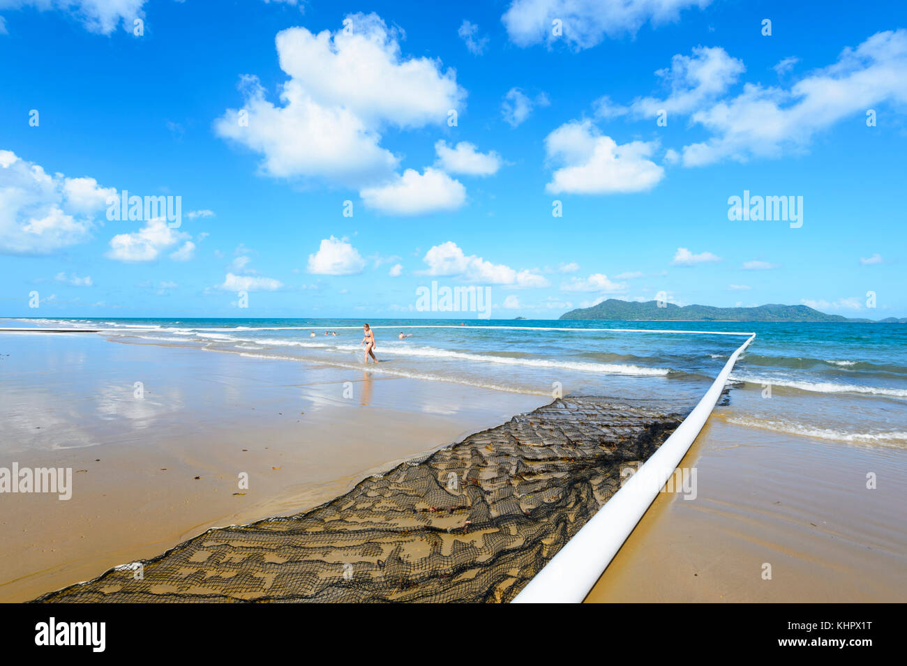 Protected swimming area or Stinger Net at South Mission Beach, Far North Queensland, FNQ, Australia - Stock Image