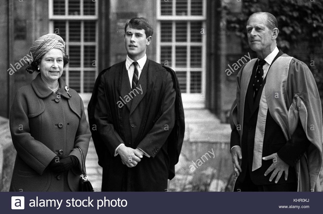 File photo dated 16/05/84 of Queen Elizabeth II and the Duke of Edinburgh visiting Prince Edward at Jesus College, - Stock Image