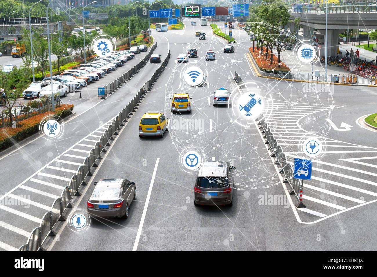 Smart car , Autonomous self-driving mode vehicle on metro city road iot concept with graphic sensor radar signal - Stock Image