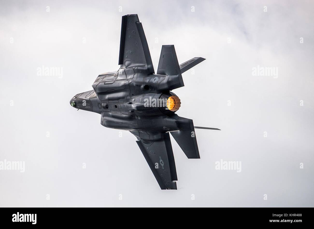 A U.S. Air Force F-35 Lightning II stealth fighter aircraft flies during the Joint Base San Antonio Air Show and Stock Photo