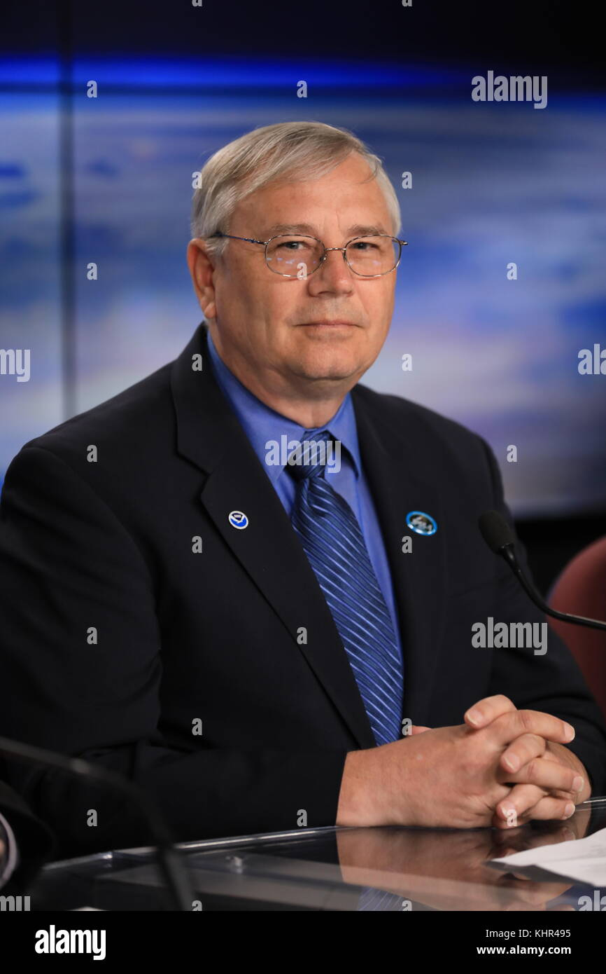 NOAA Joint Polar Satellite System Program Director Greg Mandt speaks during a pre-launch press conference for the - Stock Image