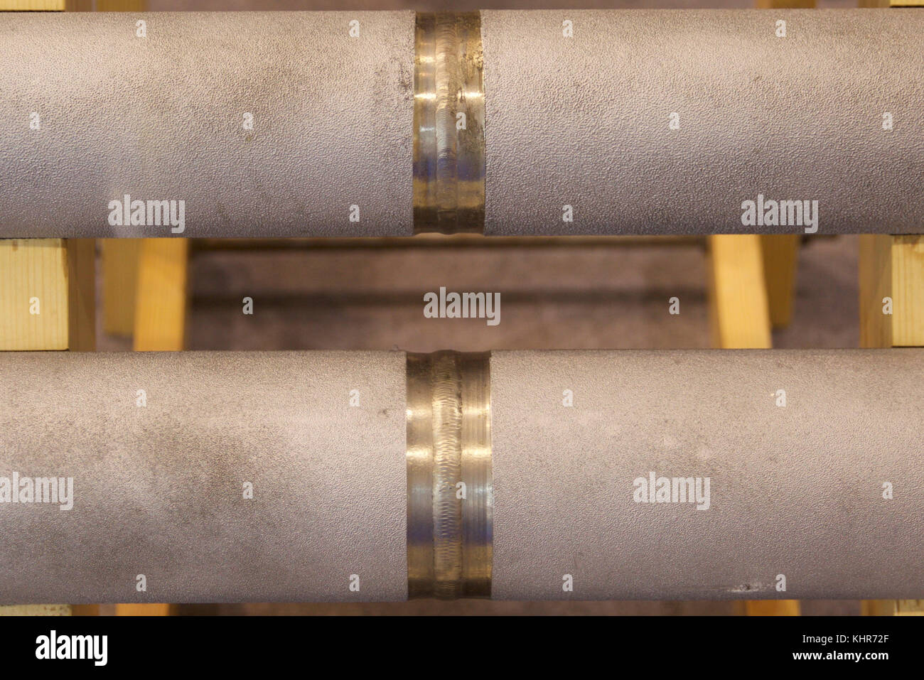 Various elements of metal pipelines for industrial use Stock Photo