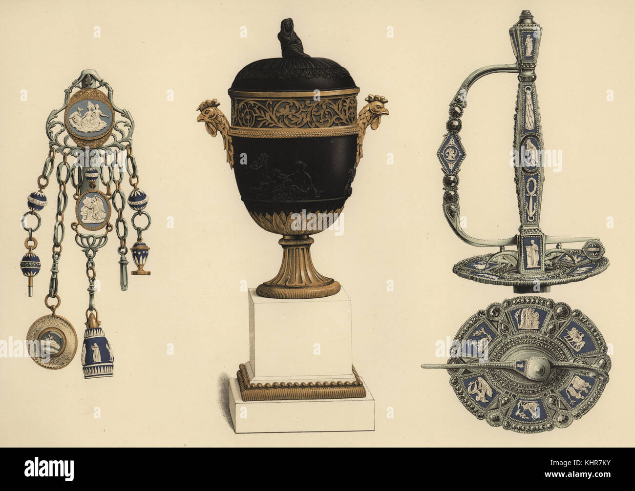 Mounted Wedgwood ceramics: chatelaine in steel and gold, vase formed of basalt sucrier, ormolu and marble, and court - Stock Image
