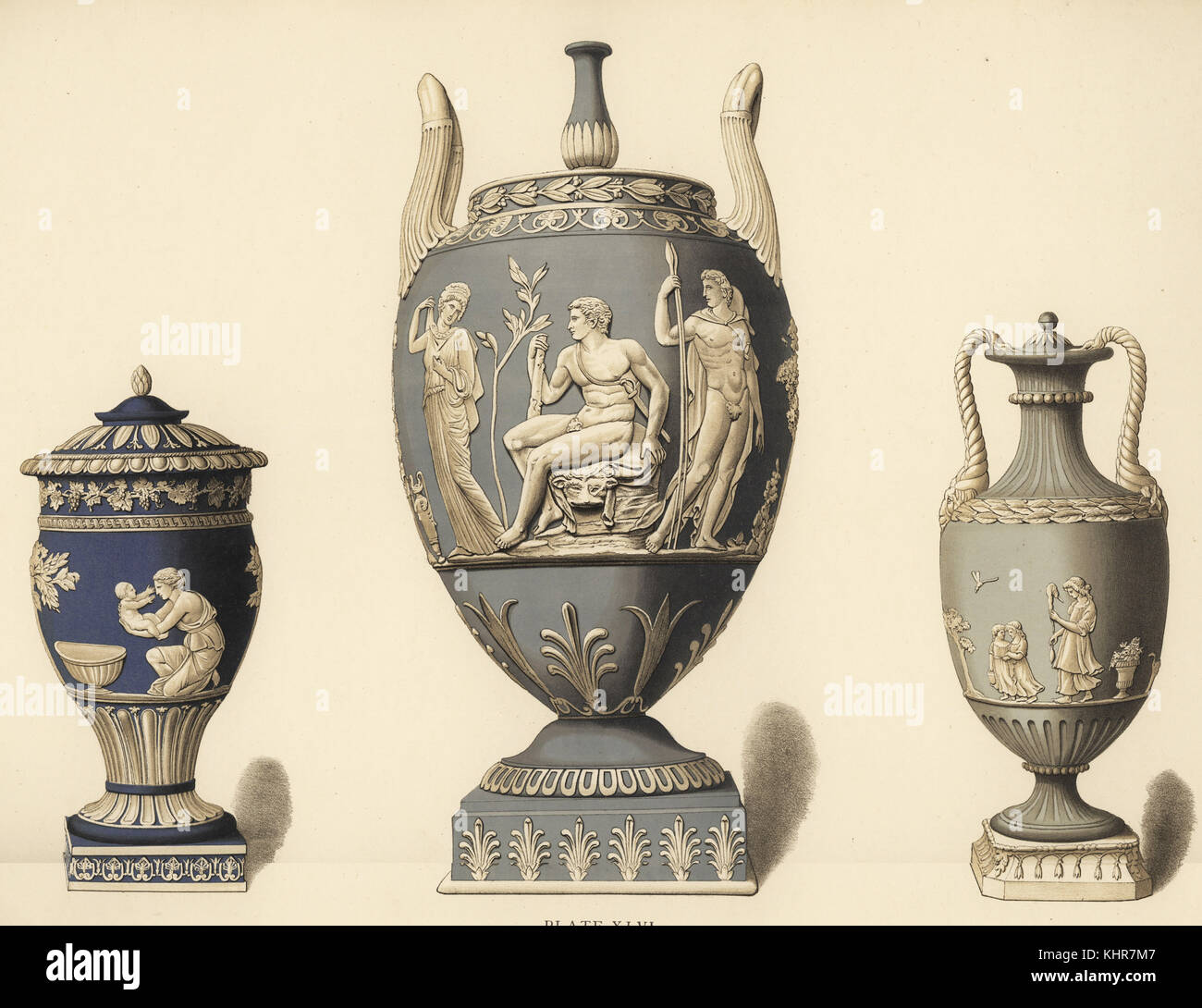 Vase with reliefs of Achilles (L), vase with Hercules in the garden of the Hesperides (C), and vase with reliefs - Stock Image