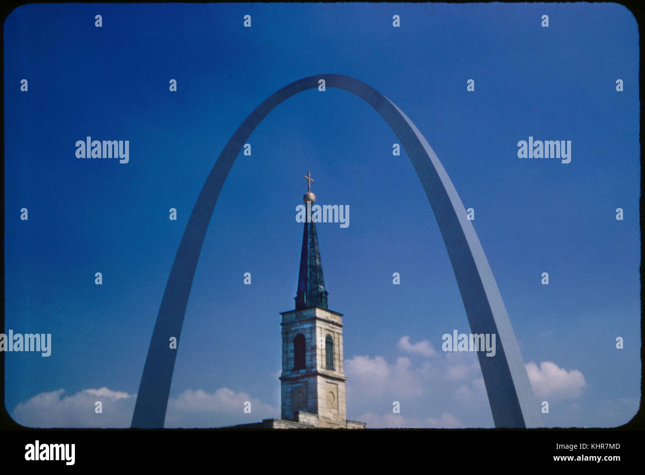 Arch and Cathedral Spire, Saint Louis, Missouri, USA, 1967 - Stock Image
