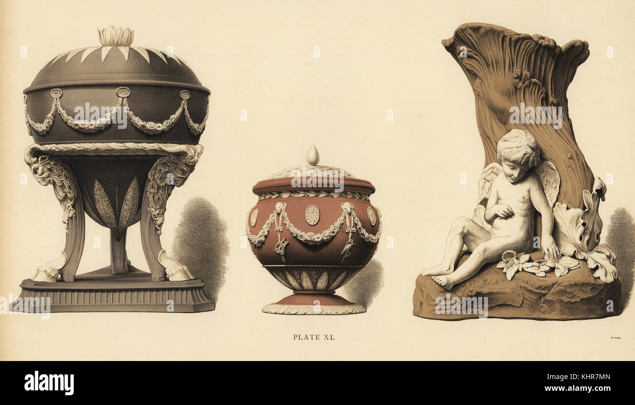 Tripod form vase with goats' heads, globular vase with festoons, with vase with reliefs of Cupid under a tree. - Stock Image