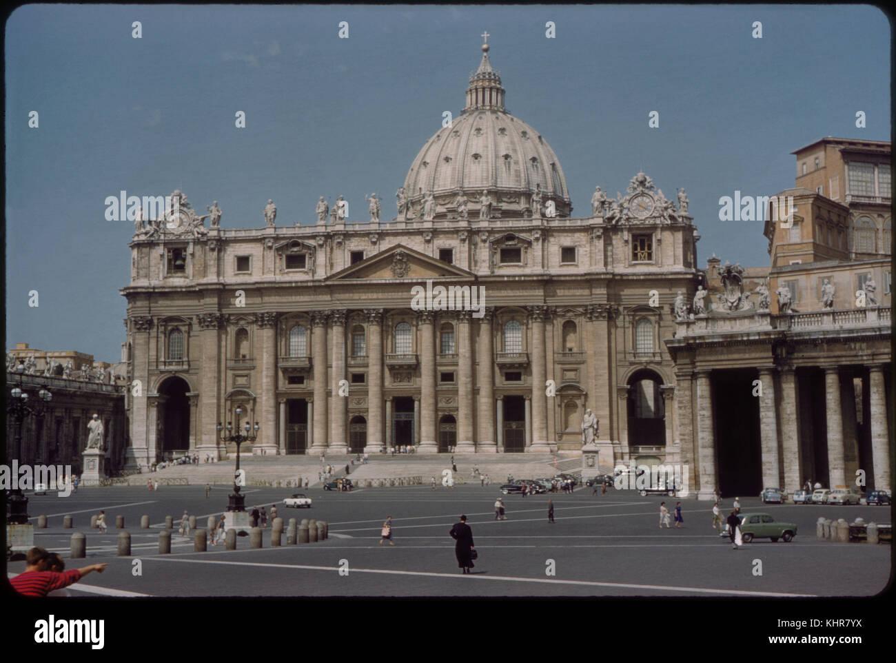 Saint Peter's Basilica, Vatican, Rome, Italy, 1962 - Stock Image