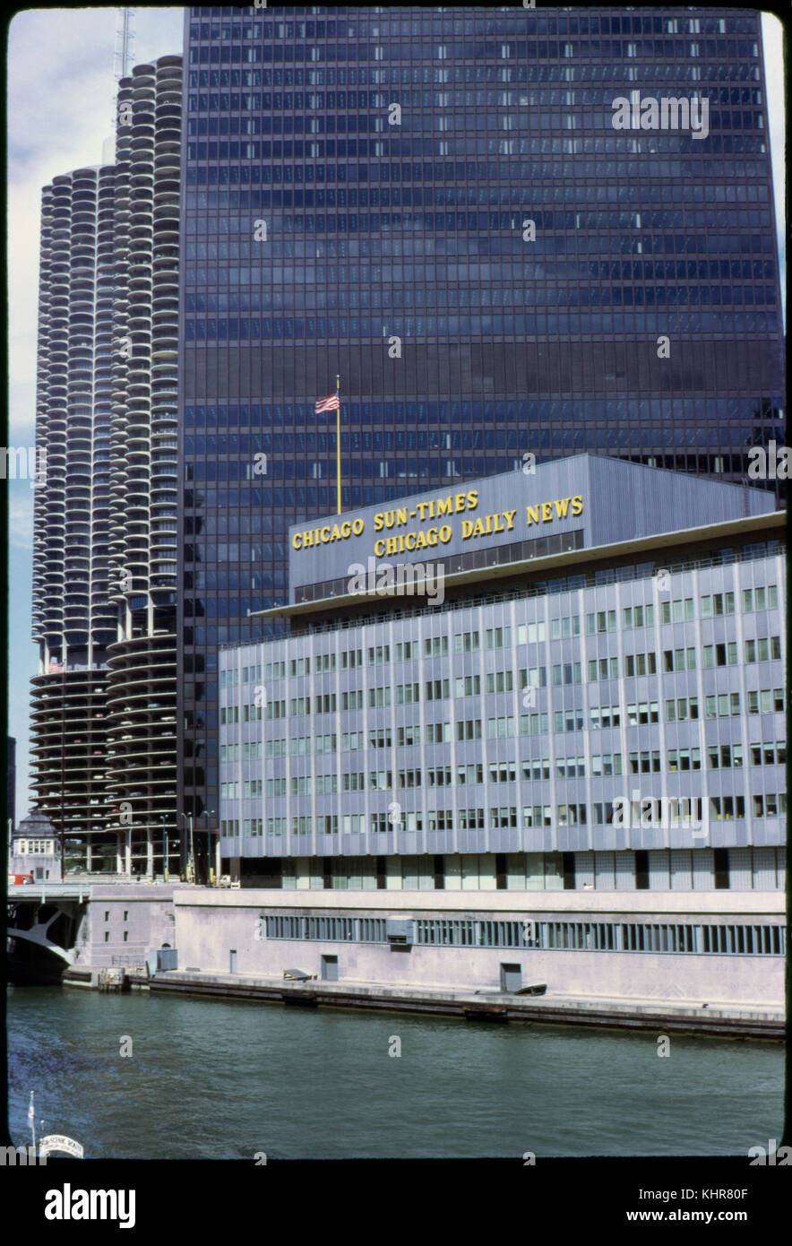 Chicago Sun-Times, Chicago Daily News Building with Marina Towers in Background along Chicago River, Chicago, Illinois, - Stock Image