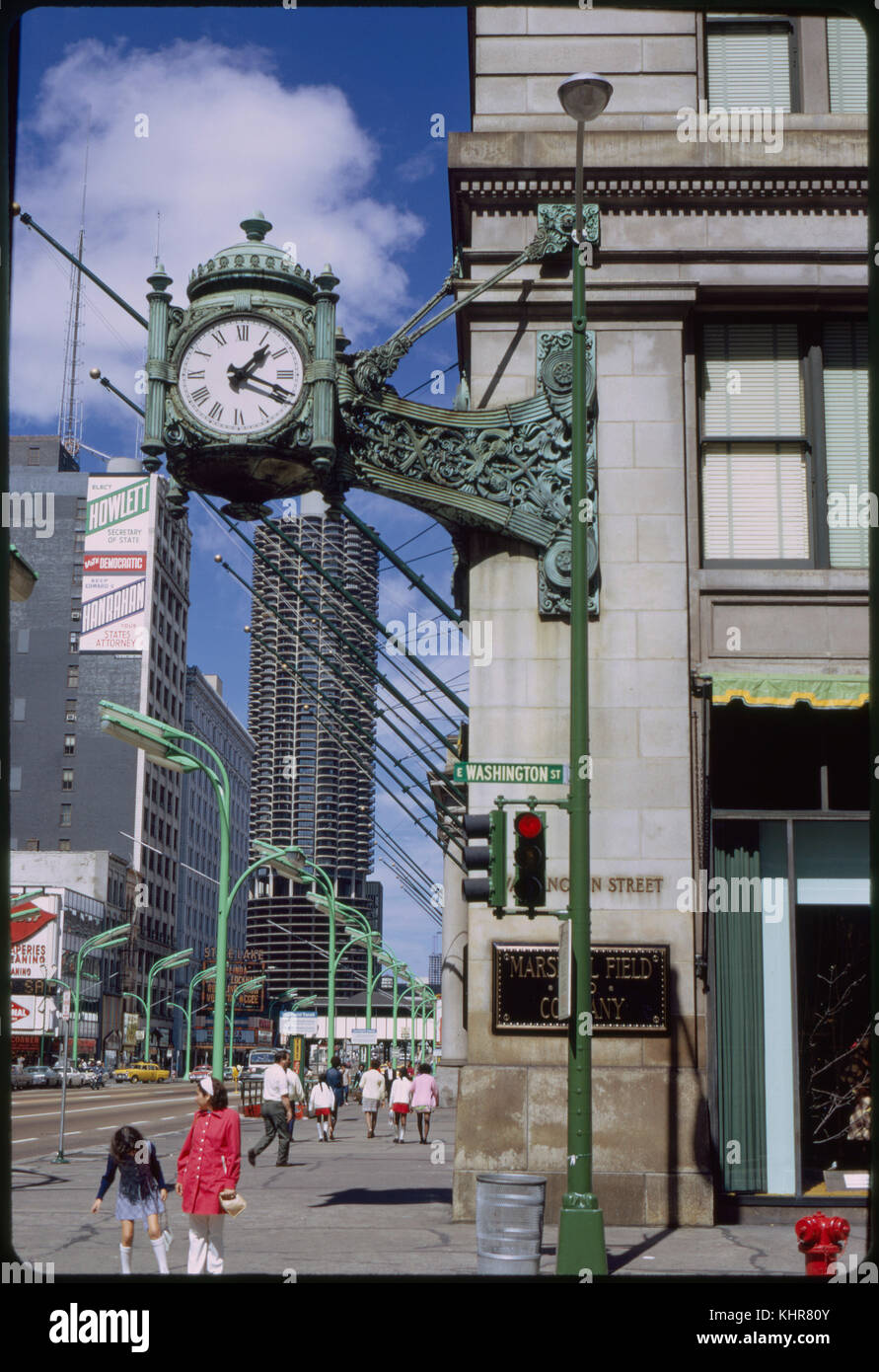 Clock, Marshall Field & Co. Department Store, Washington and State Streets, Chicago, Illinois, USA, 1972 - Stock Image
