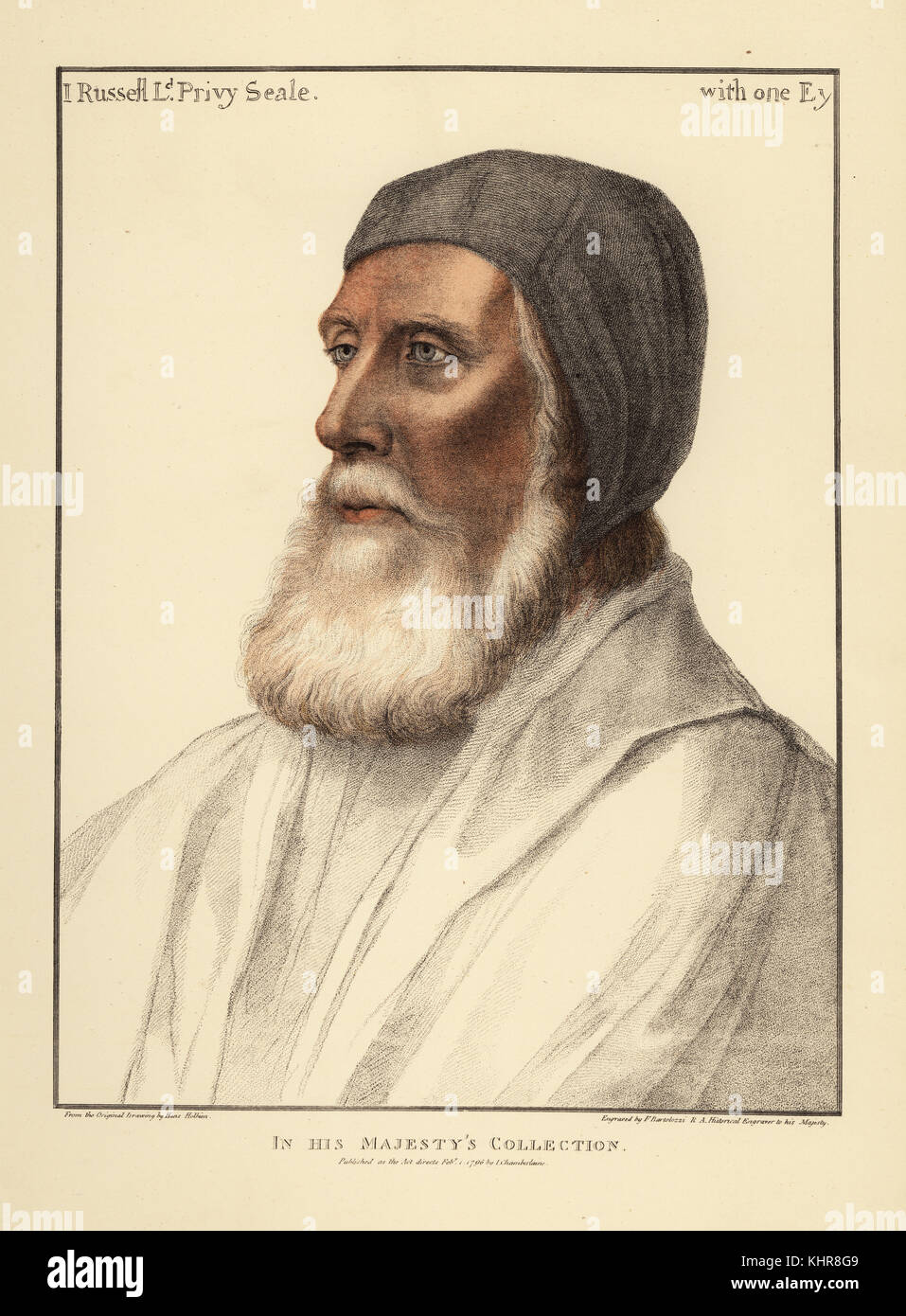 John Russell, 1st Earl of Bedford, Lord Privy Seal and Lord High Admiral (1485-1555). Handcoloured copperplate engraving - Stock Image