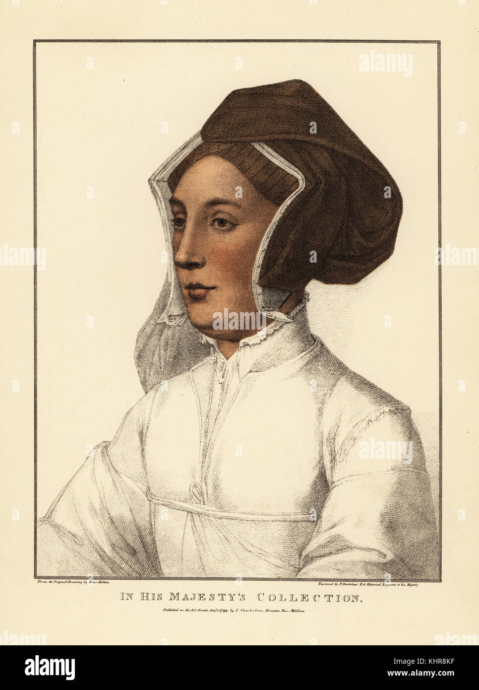 Unidentified woman. Handcoloured copperplate engraving by Francis Bartolozzi after Hans Holbein from Facsimiles - Stock Image